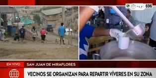 Coronavirus en Perú: vecinos de San juan de Miraflores se reúnen para distribución de alimentos
