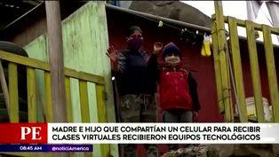 Madre e hijo que compartían celular para tomar clases virtuales reciben equipos electrónicos