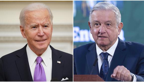"""Tras la toma de poder de Joe Biden esta semana, López Obrador dijo el jueves que la relación con el nuevo gobierno es """"muy buena"""" y que ambos """"coinciden"""" en la agenda presentada, alabando el plan de la Casa Blanca para atender la pandemia y la iniciativa de regularizar a inmigrantes irregulares. (Foto: MANDEL NGAN / AFP /Mexican Presidency)."""