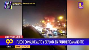 Panamericana Norte: Fuego consume auto y explota