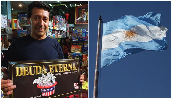 """Nelson Rodriguez, gerente de Toy Supermarket muestra el juego """"Deuda Eterna""""  en Buenos Aires. El juego, el cual tiene el slogan """"¿Te atreves a desafiar al FMI?"""", es vendido mientras se negocia la deuda extranjera del país. (Foto: AP Photo/Diego Giudice)"""