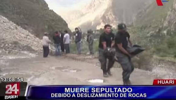 Huari: una persona murió sepultada tras deslizamiento de rocas