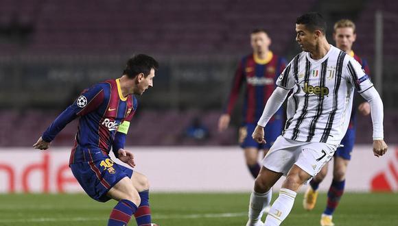 Lionel Messi y Cristiano Ronaldo chocaron por la Champions League 2020-2021 con triunfo para Juventus en el Camp Nou. (Foto: AFP)