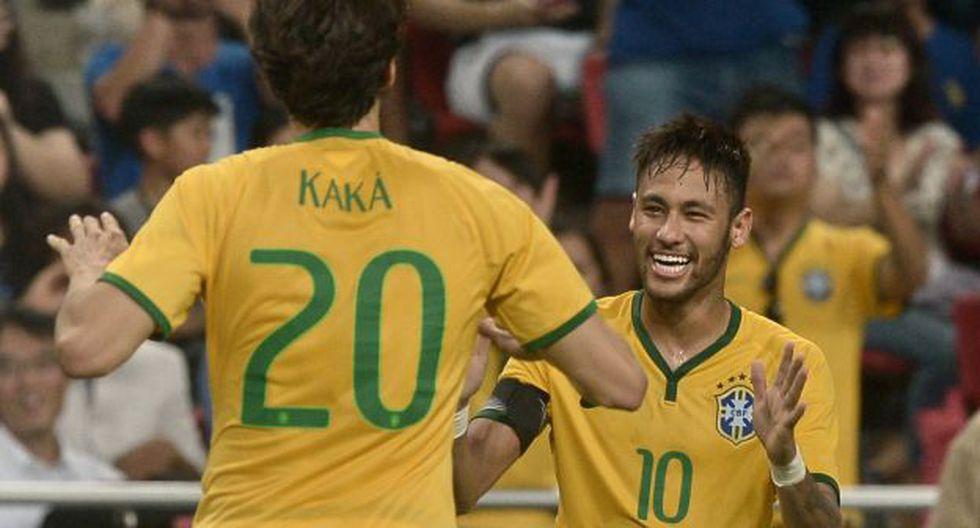 Neymar y Kaká fueron compañeros en la selección de Brasil. (Foto: AFP)
