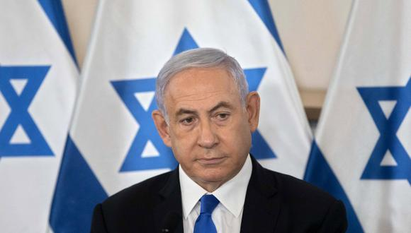 El primer ministro israelí, Benjamin Netanyahu, es visto en una sesión informativa  en Tel Aviv, Israel, el 19 de mayo de 2021. (Sebastian Scheiner / POOL / AFP).
