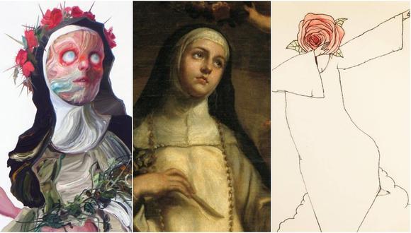De izquierda a derecha, Santa Rosa de Lima en interpretaciones de José Luis Carranza, Claudio Coello y Eduardo Tokeshi. Fotos: Museo del Prado, cortesía de los autores.