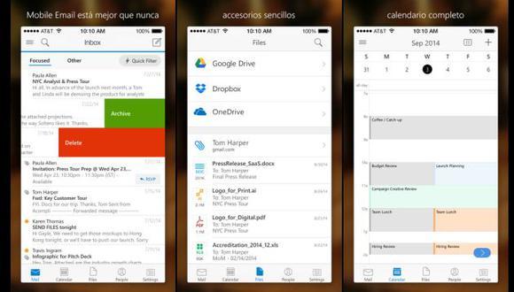 Microsoft presentó su app Outlook para iOS y Android