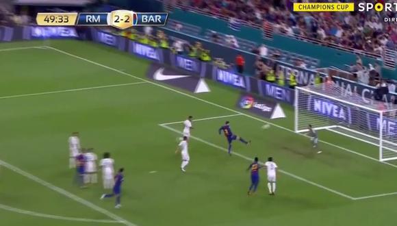 Gerard Piqué también tuvo la fortuna de anotar en el Hard Rock Stadium. La definición del zaguero del Barcelona se dio luego de una falla garrafal en defensa del Real Madrid. (Foto: captura de pantalla)