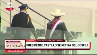 Presidente Pedro Castillo se retira de desfile militar tras fuerte sismo en Piura