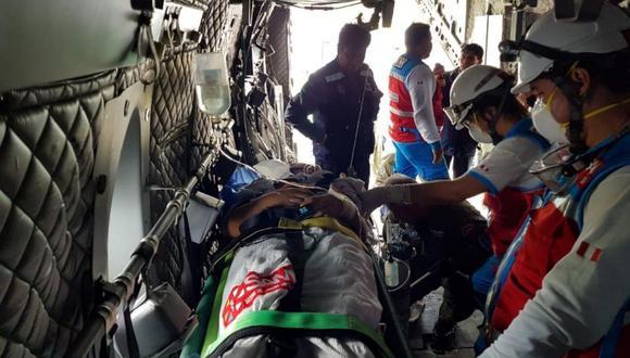 El Ministerio de Salud y la Fuerza Aérea trasladaron ayer a dos menores heridos tras el accidente. Fueron internados en el Instituto Nacional de Salud del Niño, en San Borja (Foto: Minsa)