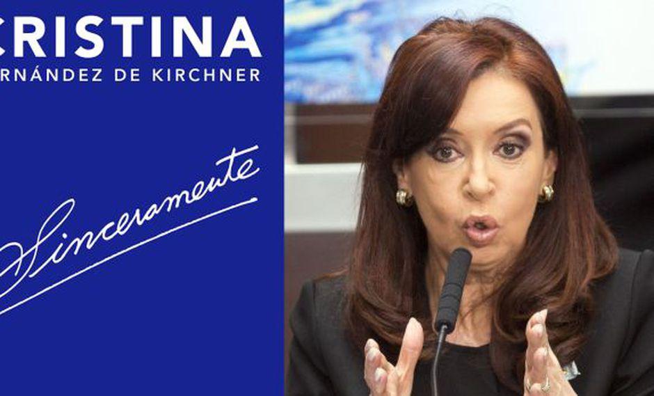 Cristina y la portada de su libro publicado por editorial Sudamericana.