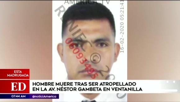 Christian Benigno Malpaso León, de 33 años, perdió la vida esta madrugada luego de intentar cruzar la vía. (Foto captura: América Noticias)