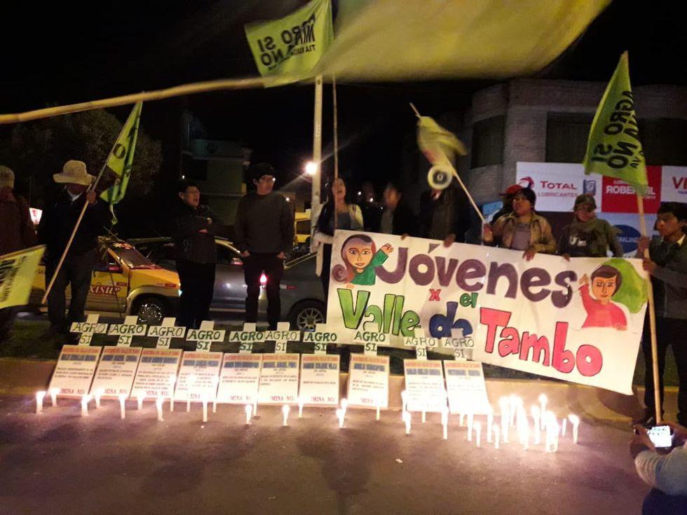 Así se realizó la protesta contra el proyecto Tía María. No tuvo la convocatoria que se esperaba. (Foto: Zenaida Condori)