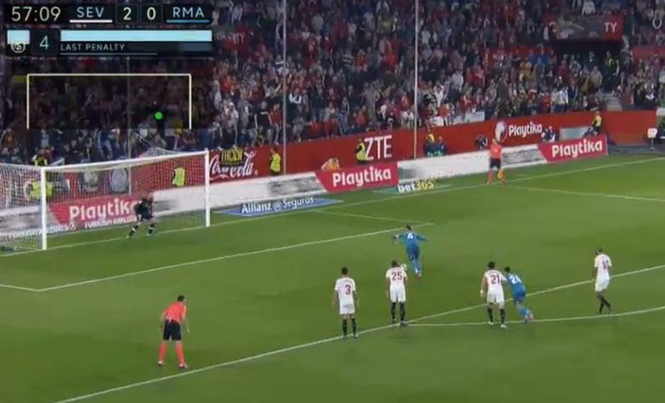 Sergio Ramos falló un penal en el Real Madrid vs. Sevilla. (Foto: captura de YouTube)