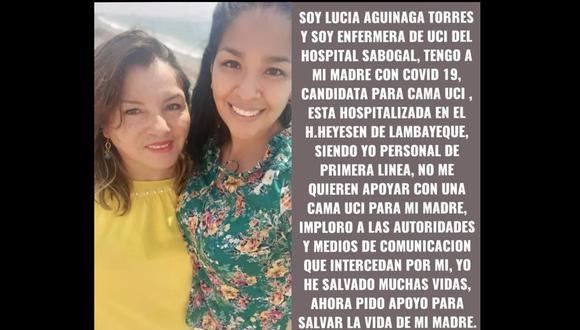 El mensaje compartido por la enfermera Lucía Aguinaga.