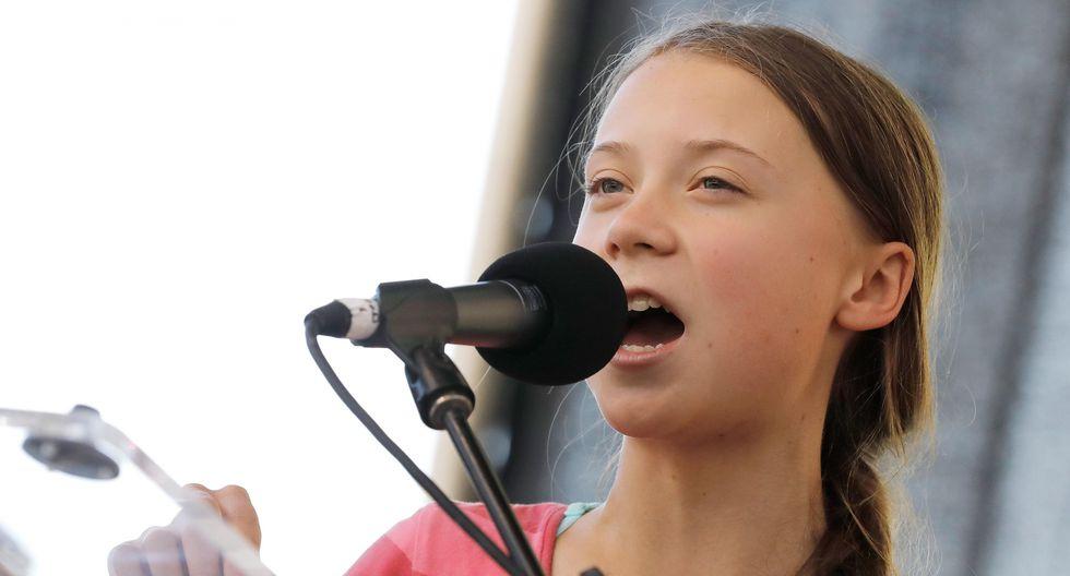 La activista climática de 16 años Greta Thunberg habla durante una manifestación masiva contra el calentamiento global realizada en Nueva York. (EFE).