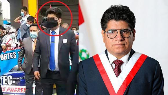 Simeón Hurtado fue captado en una de las manifestaciones del paro nacional de colectiveros.
