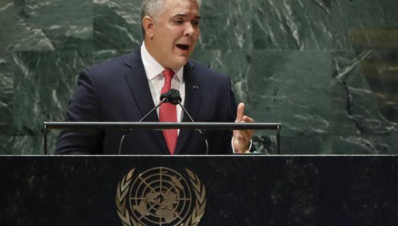 Iván Duque, presidente de Colombia, habla durante la Asamblea General de la ONU el 21 de septiembre de 2021 en Nueva York. (Foto: EDUARDO MUNOZ / POOL / AFP).