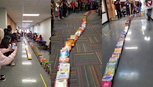 Un video viral de Facebook muestra la alegría de varios niños al donar cajas de cereales para las familias de escasos recursos de su comunidad. | Crédito: Watervliet Public Schools / Facebook.