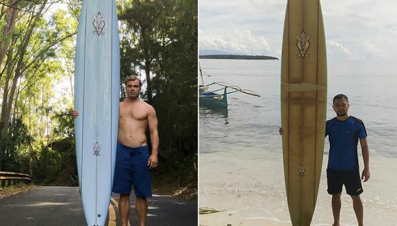 Falter dijo que quiere darle a Branzuela una tabla de surf para principiantes a cambio de la suya. Asimismo, está dispuesto a darle una lección para atrapar olas. (Foto: Handout / AFP)