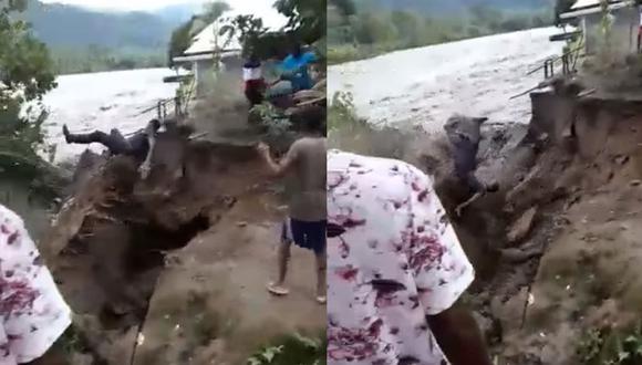 Arturo cayó al río Arquía luego de intentar recolectar un coco. Afortunadamente logró ser rescatado a salvo un kilómetro más abajo. | Foto: Aquí/Facebook
