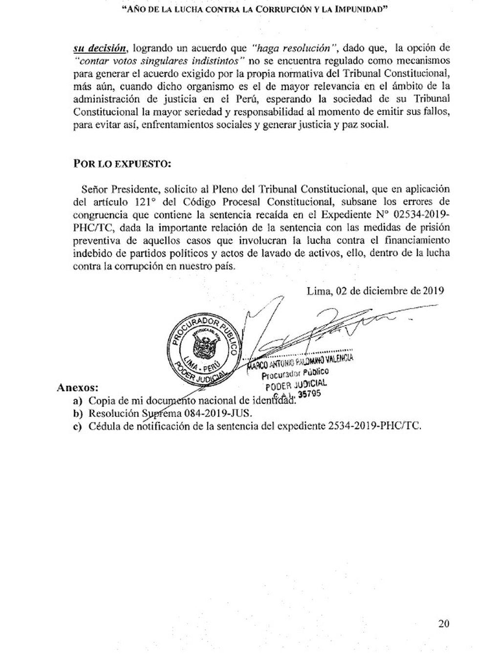 Procurador solicitó que el Tribunal Constitucional aclare fallo que liberó a Keiko Fujimori
