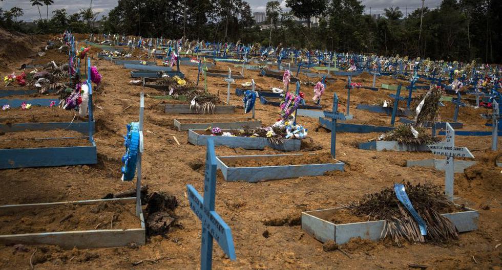 Coronavirus en Brasil | Ultimas noticias | Último minuto: reporte de infectados y muertos miércoles 19 de agosto del 2020 | Covid-19 | Foto de una sección destinada para víctimas del COVID-19 en el cementerio Nossa Senhora Aparecida, en Manaos, estado Amazonas. (Foto: EFE/ Raphael Alves).