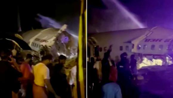 Avión de Air India aterriza de emergencia y termina de estrellarse con más de 190 pasajeros a bordo. (Fotos: Reuters)