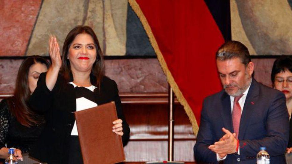 Vicuña asumió el cargo de vicepresidenta en enero de 2018, para remplazar a Jorge Glas, quien fue sentenciado a 6 años de cárcel por corrupción. Foto: Getty images, vía BBC Mundo