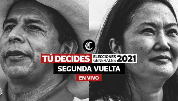 Pedro Castillo alcanzó un 50.125% de los votos válidos por delante de Keiko Fujimori, quien cuenta con un 49.875%, según el reporte actualizado de la ONPE al 100% de actas contabilizadas. (Foto: El Comercio)