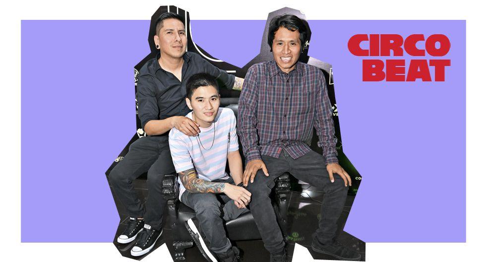 Wilmer Fuentes, Andrés Makishi y J. Luis Sulca en el décimo aniversario de Zhimpa Tattoo. Miraflores.