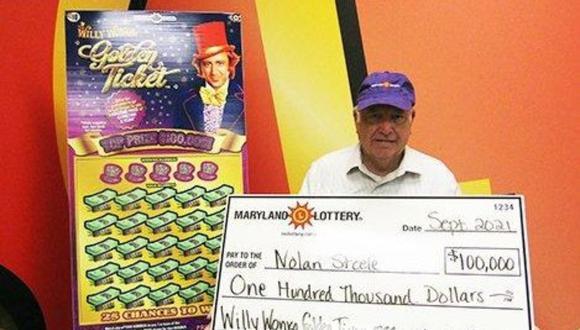 Nolan Steele ganó 100.000 dólares tras comprar un boleto para raspar. (Foto: Maryland Lottery)