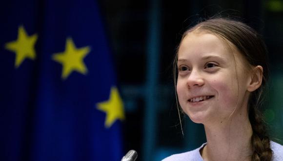 Greta Thunberg habla durante una reunión en el Parlamento Europeo en Bruselas el 4 de marzo de 2020. (Foto de Kenzo TRIBOUILLARD / AFP).