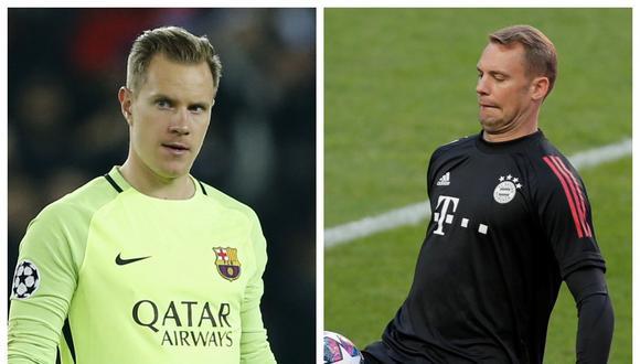 Marc-André ter Stegen y Manuel Neuer vivirán un nuevo capítulo de su duelo aparte bajo los tres palos en los cuartos de final de la Champions League | Fotos: Agencias