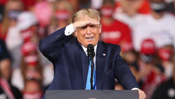 El presidente de Estados Unidos, Donald Trump, habla en el aeropuerto Cecil el 24 de setiembre de 2020 en Jacksonville, Florida. (Joe Raedle/Getty Images/AFP).