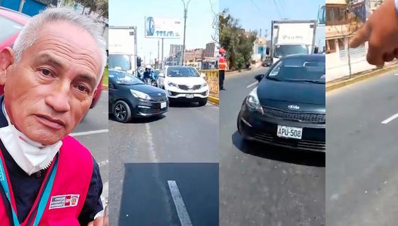 Secuencia que muestra cómo el conductor en lugar de estacionar su auto a donde le señalaba Roy, continuó su recorrido y atropelló al inspector (a la izquierda) (Foto: captura de video Municipalidad de San Luis)