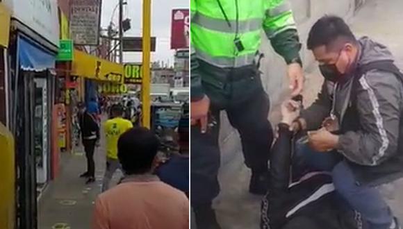 El homicidio ocurrió esta tarde frente a la casa de juegos 'Money Money', ubicada en la cuadra 11 de la avenida Los Héroes, en San Juan de Miraflores | Foto: Captura de video / PNP
