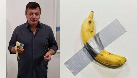 Esta persona no dudó ni un segundo en comerse la banana que estaba pegada en la pared. (Foto: RT)