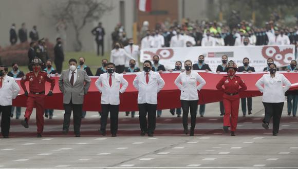 También el grupo estuvo conformado por policías, militares, bomberos, serenazgo, entre otros. (Foto: Renzo Salazar @photo.gec)