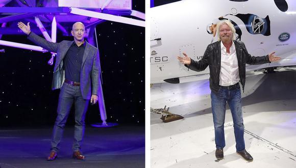Imagen muestra a Jeff Bezos con un modelo del módulo de aterrizaje lunar Blue Origin en Washington, a la izquierda, y a Richard Branson con el cohete de turismo espacial SpaceShipTwo de Virgin Galactic en Mojave, California. (AP/Patrick Semansky, Mark J. Terrill).