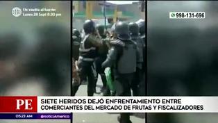 Siete heridos dejó enfrentamiento entre fiscalizadores y comerciantes del Mercado de Frutas