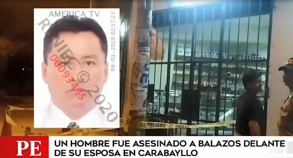 El hombre fue interceptado por cuatro desconocidos y uno de estos le disparó. El ataque ocurrió en una bodega en Carabayllo. (Captura: América Noticias)