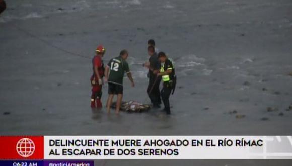 Presunto delincuente muere ahogado en el río Rímac al escapar de serenos (Captura: América Noticias)
