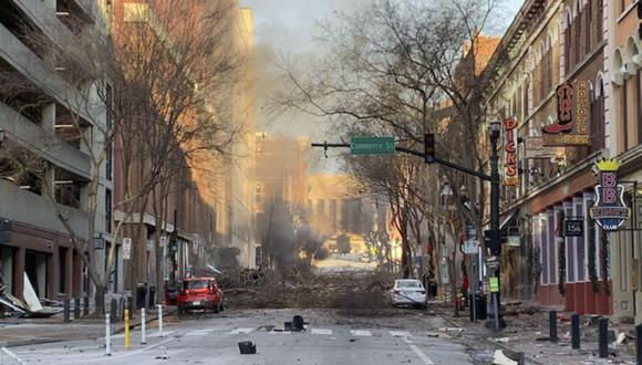 Así quedó la zona de la explosión causada por Warner, en Nashville. (EFE).