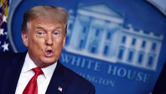 El presidente de Estados Unidos, Donald Trump, habla durante una conferencia de prensa en la sala James S. Brady en la Casa Blanca, Washington. (AFP / Brendan Smialowski).
