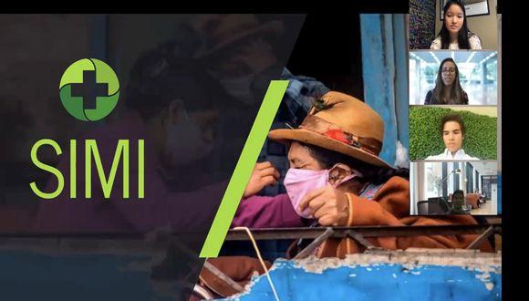 Valeria Wu, Marcelo Peña, Valerie Aguilar,  Jorge Andrés Armenta y Rodrigo Chanamé presentando Simi, su propuesta para enfrentar el coronavirus en Perú, ante el jurado del Instituto Tecnológico de Massachusetts (MIT). (Foto: Archivo Valeria Wu)