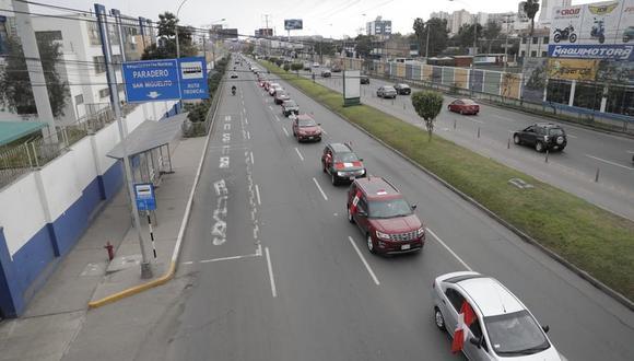 La caravana se inició en la avenida de La Peruanidad y concluyó en el Paseo de los Héroes Navales. (Renzo Salazar / @photo.gec)