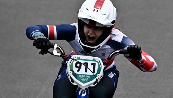 La ciclista británica de BMX Bethany Shriever ganó el oro en Tokio 2020. (Foto: Jeff Pachoud | AFP)