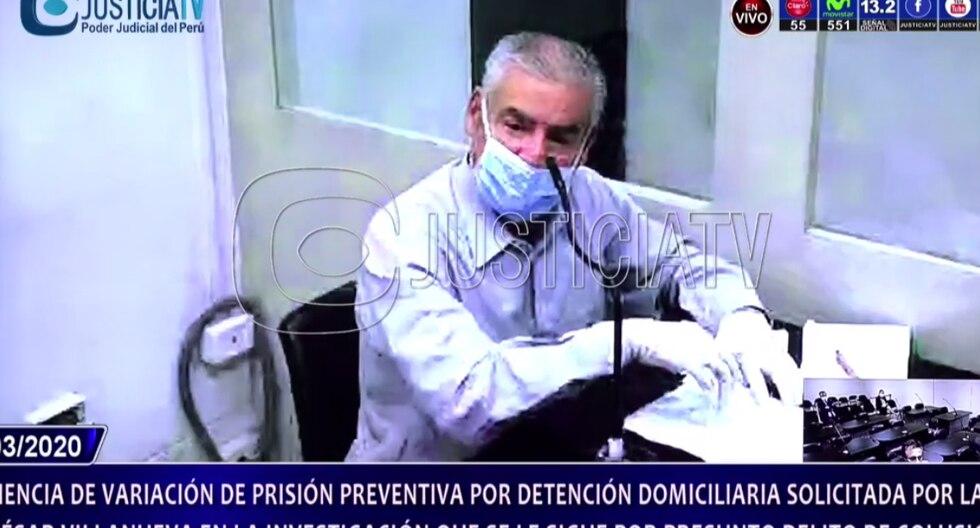 César Villanueva cumplirá con arresto domiciliario por el caso Odebrecht. El martes, por videoconferencia, dijo que su salud corría riesgo ante el coronavirus (Foto: captura de pantalla)