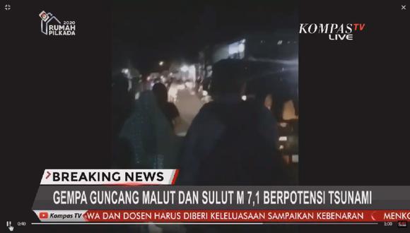 Alerta de tsunami en Indonesia tras potente sismo de magnitud 7,4. Foto: Captura de video